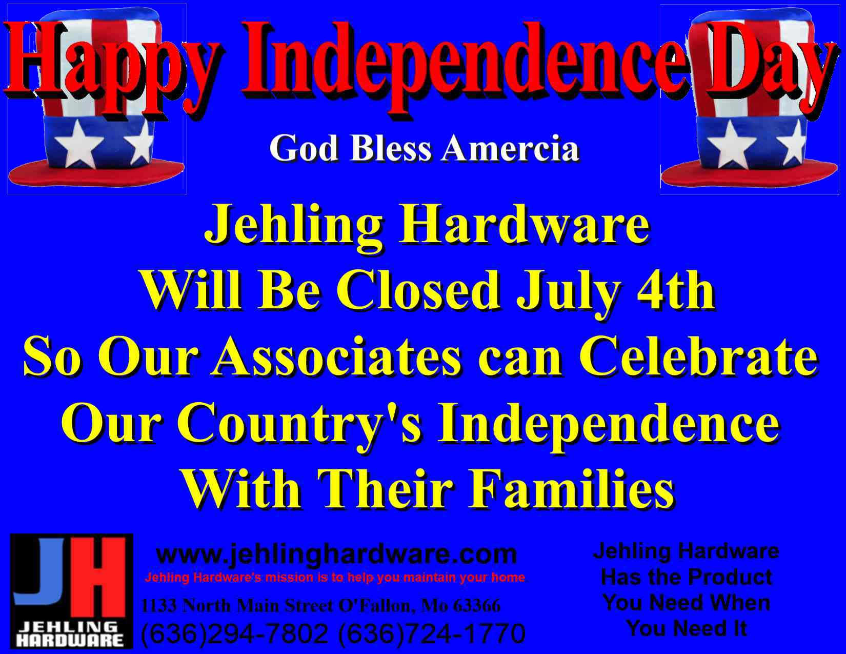 Jehling closed July 4th 2015