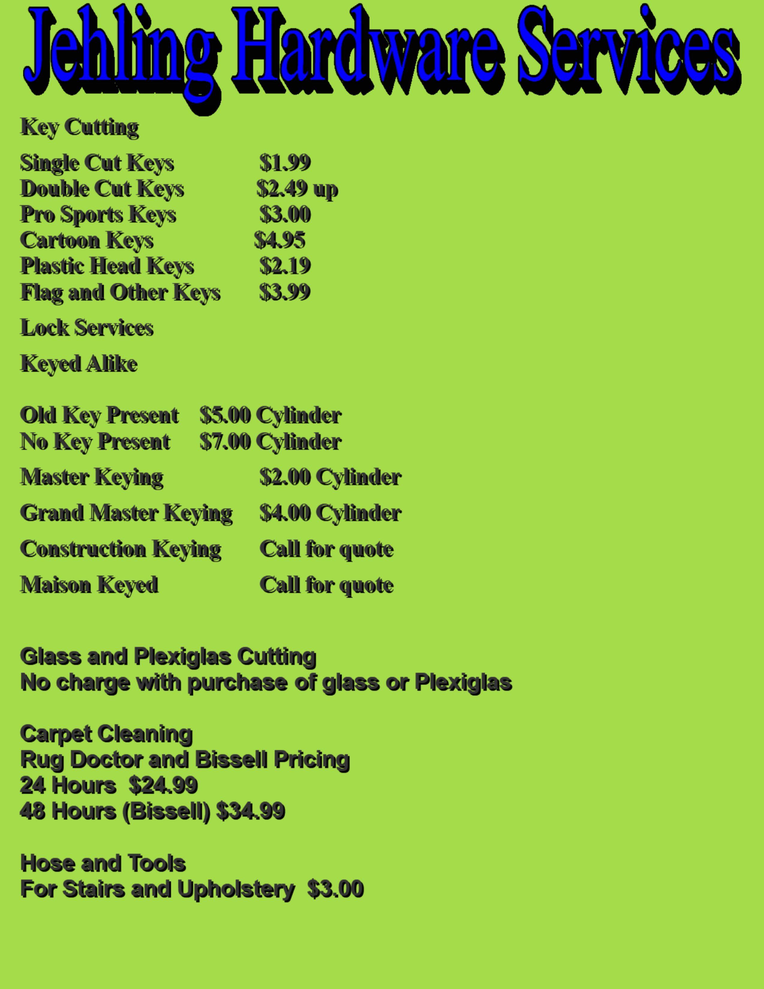Service prices 1